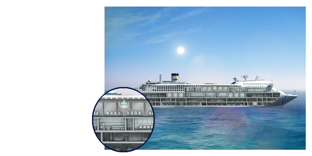 Cruise Ship UI, with cross section revieled.