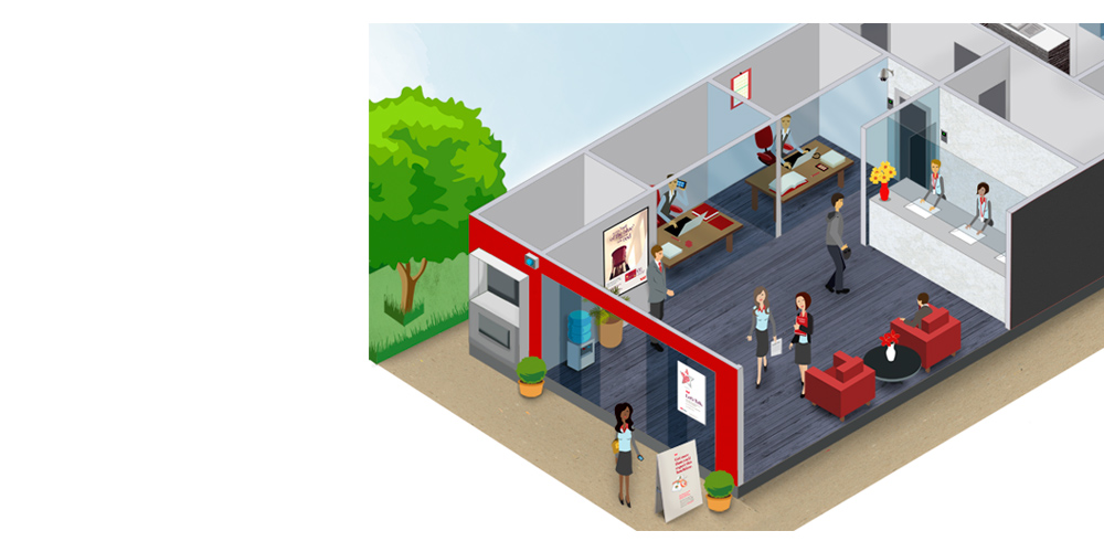 Bank isometric completed in Illustrator.